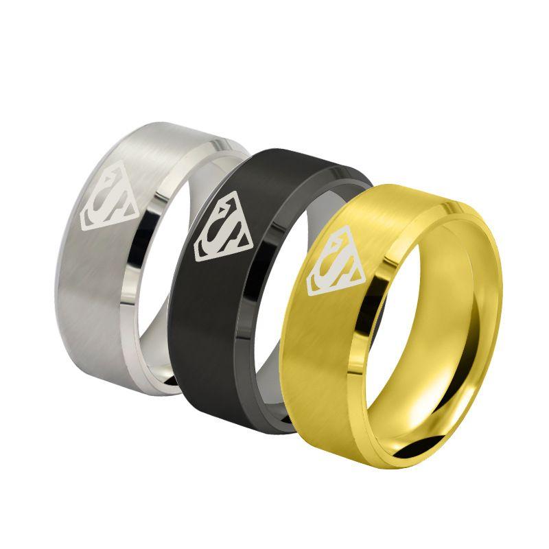 Anéis de aço inoxidável super homem e anéis de titânio dos homens por atacado