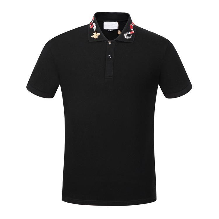 2019ss بولو ملابس رجالي Poloshirt قميص الرجال القطن مزيج قصيرة الأكمام عارضة تنفس الصيف تنفس الصلبة ملابس رجالية الحجم M-3XL