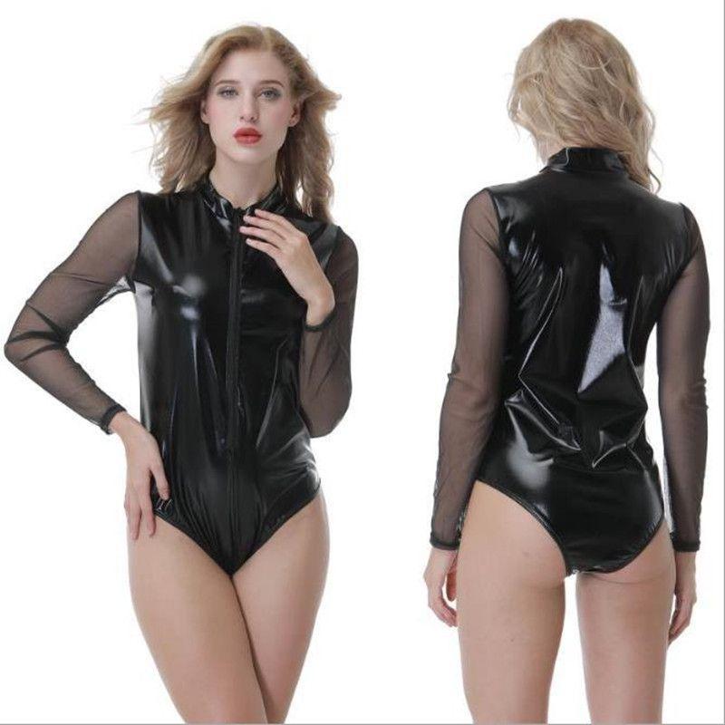 Sexy Women Beach Swim Bikinis Summer One Piece Clothing Night Club Black Leatherwear Design Long Sleeve zipper Playsuits