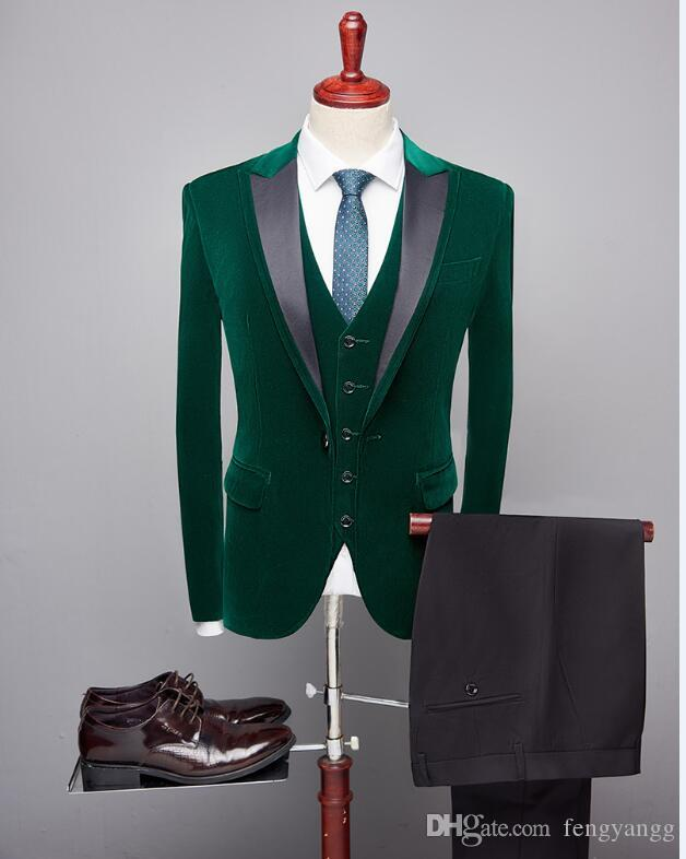 Luxury Velvet Man Slim Fit Suit Mens 3 Piece Suit (Man Jacket+Pant+Vest) Custom Made for Marriage Groom Tuxedo