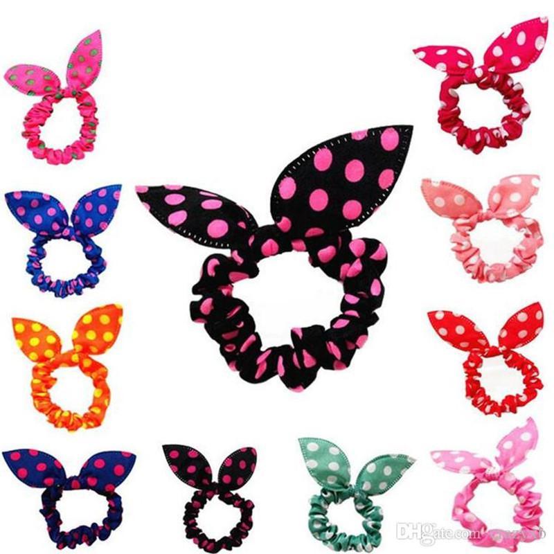 100Pcs / lot Kinder Frauen-Haar-Band Niedliche Polka-Punkt-Bogen-Kaninchen-Ohr-Stirnband-Mädchen-Ring Scrunchy Kinder Pferdeschwanz-Halter-Haar-Zusätze