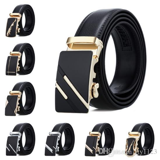 NEW Men/'s Casual Waistband Leather Automatic Buckle Belt Waist Strap Belts Lot