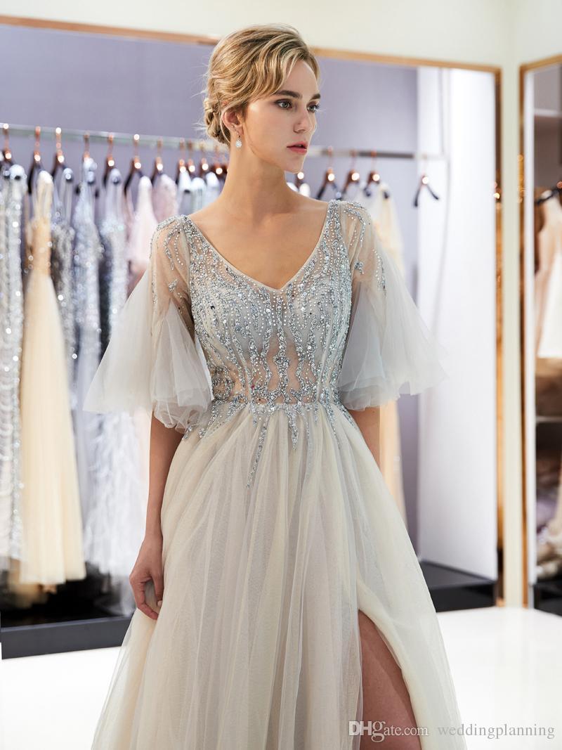 2018 Elegant V-Neck Split A-Line Prom Dresses Soft Color Beaded Poet Sleeve Zipper Back Evening Gown 100% Real Image Custom Made
