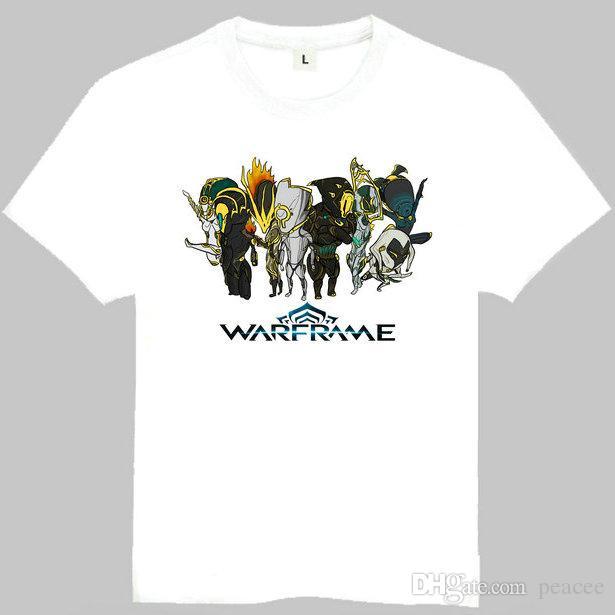 Warframe t shirt Plain cor manga curta vestido Shoot game tees Pure casual clothing Qualidade algodão tecido Tshirt