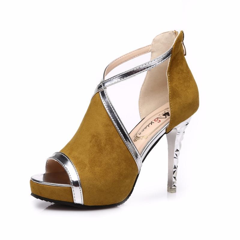 wholesale 2018 summer new high heels high heel women side air platform fish mouth shoes open toe high heels