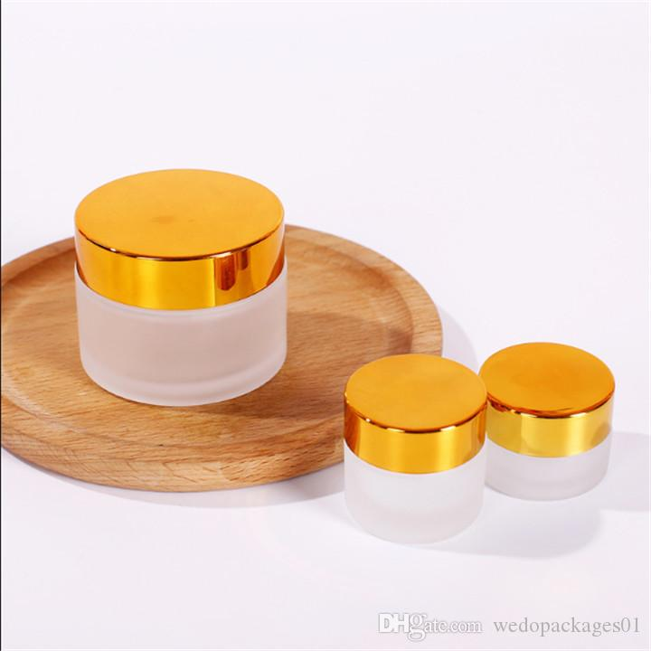 Non-leaking 10g 30g glass concealer cream jar frosted wide mouth facial cream tube container with white inner lid & alumite cap printed
