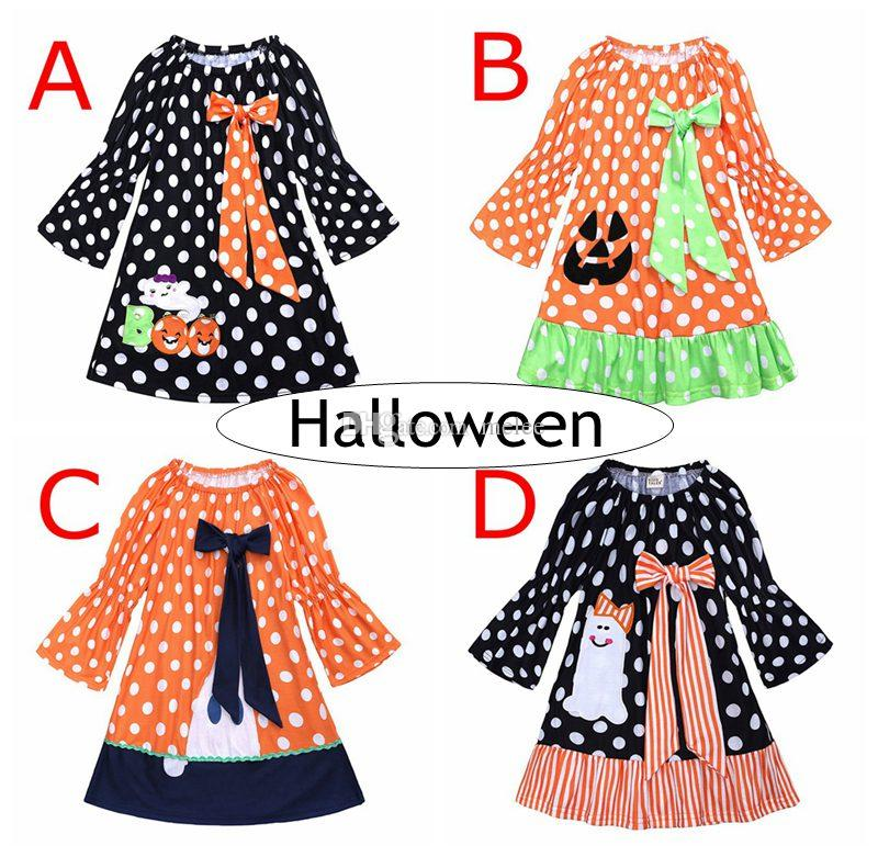 INS Halloween Pumpkins Girls Dresses Children Perform Show Princess Long Dress Dots Striped Cute Bow Skirts For Kids Fall Clothing 1-6Years