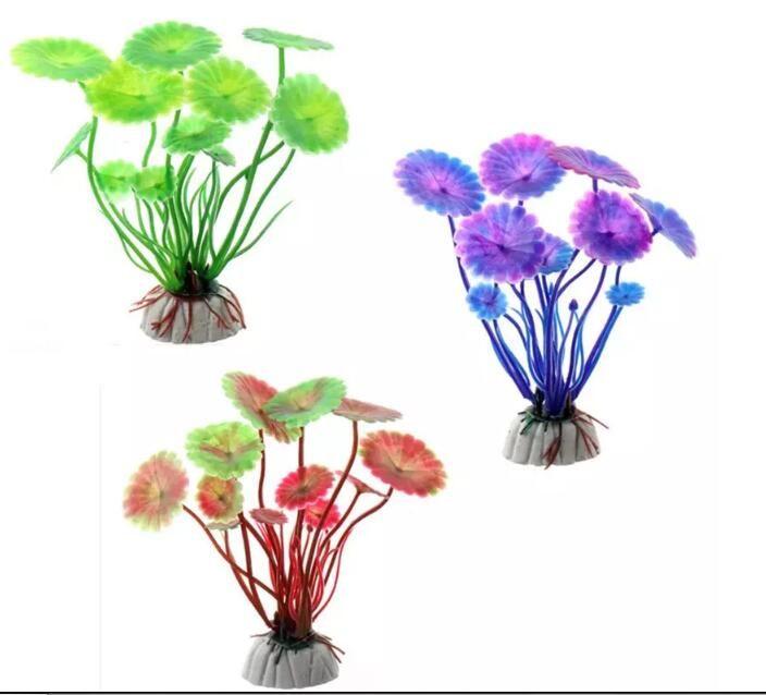 Hot Sell 1 PC Plastic Lotus leaf Grass Plants Artificial Aquarium Decorations Plants Fish Tank Grass Flower Ornament Decor