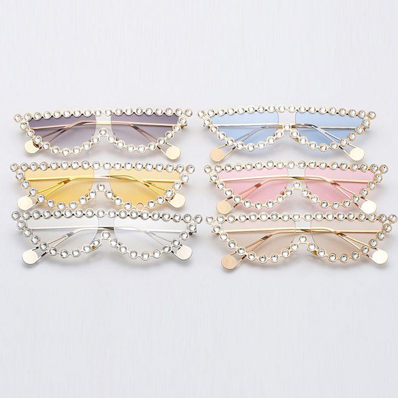 6568 mode lunettes de soleil de luxe Bling Bling cadre de diamant protection UV lunettes de soleil de haute qualité viennent avec boîte