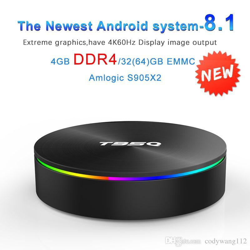 T95Q Android 8.1 TV BOX Amlogic S905X2 DDR4 4GB 32GB / 64GB 2.4G 5GHz dual Wifi Bluetooth 4K Set top Box VS X96 Max