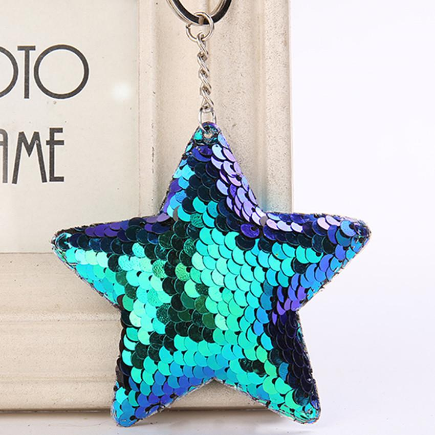 Lovely five pointed star sequins, keychain pendant, bright face, heart key chain, five pointed star PU car key chain ornaments wholesale