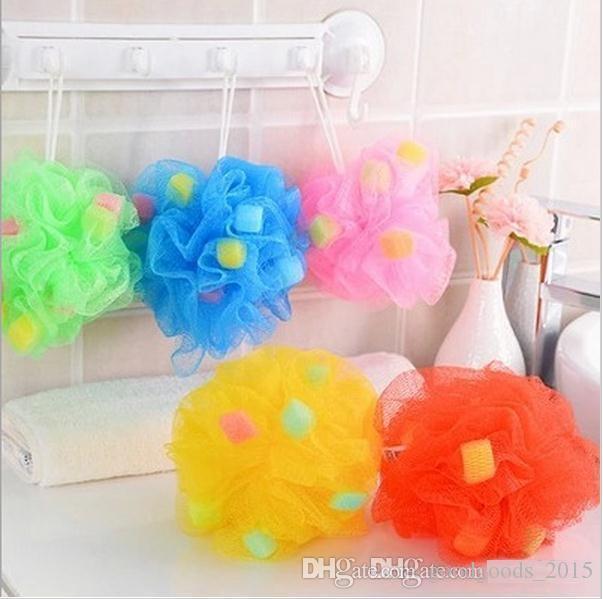Hermosa bola de baño de esponja baño de esponja amor verano multi color elegir flor correa de toalla de baño para bathrom b893
