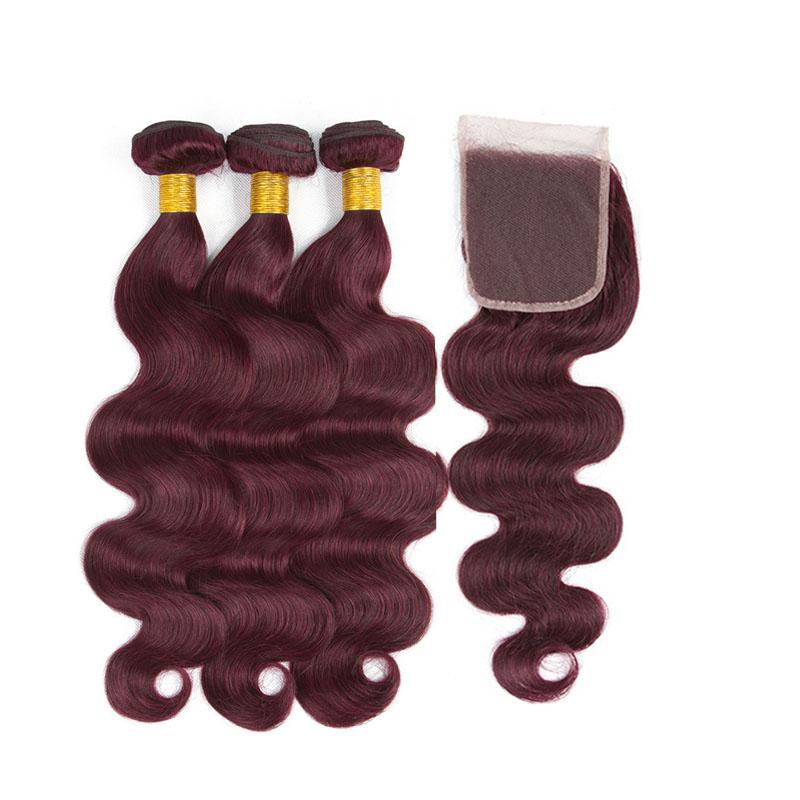 99j Human Hair Bundles With Lace Closure Burgundy Body Wave Brazilian Virgin Hair Weaves And Closure 4pcs Lot Double Weft Extensions