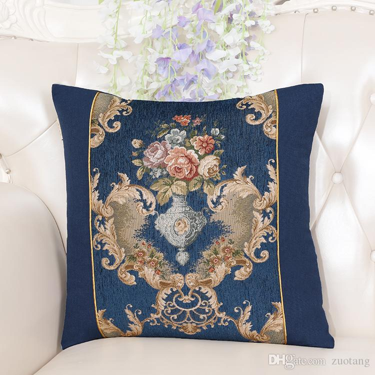 European Jacquard Decorative Vintage Cushion Covers for Sofa Chair Cushion Fashion Simple Home Office Pillow Cover