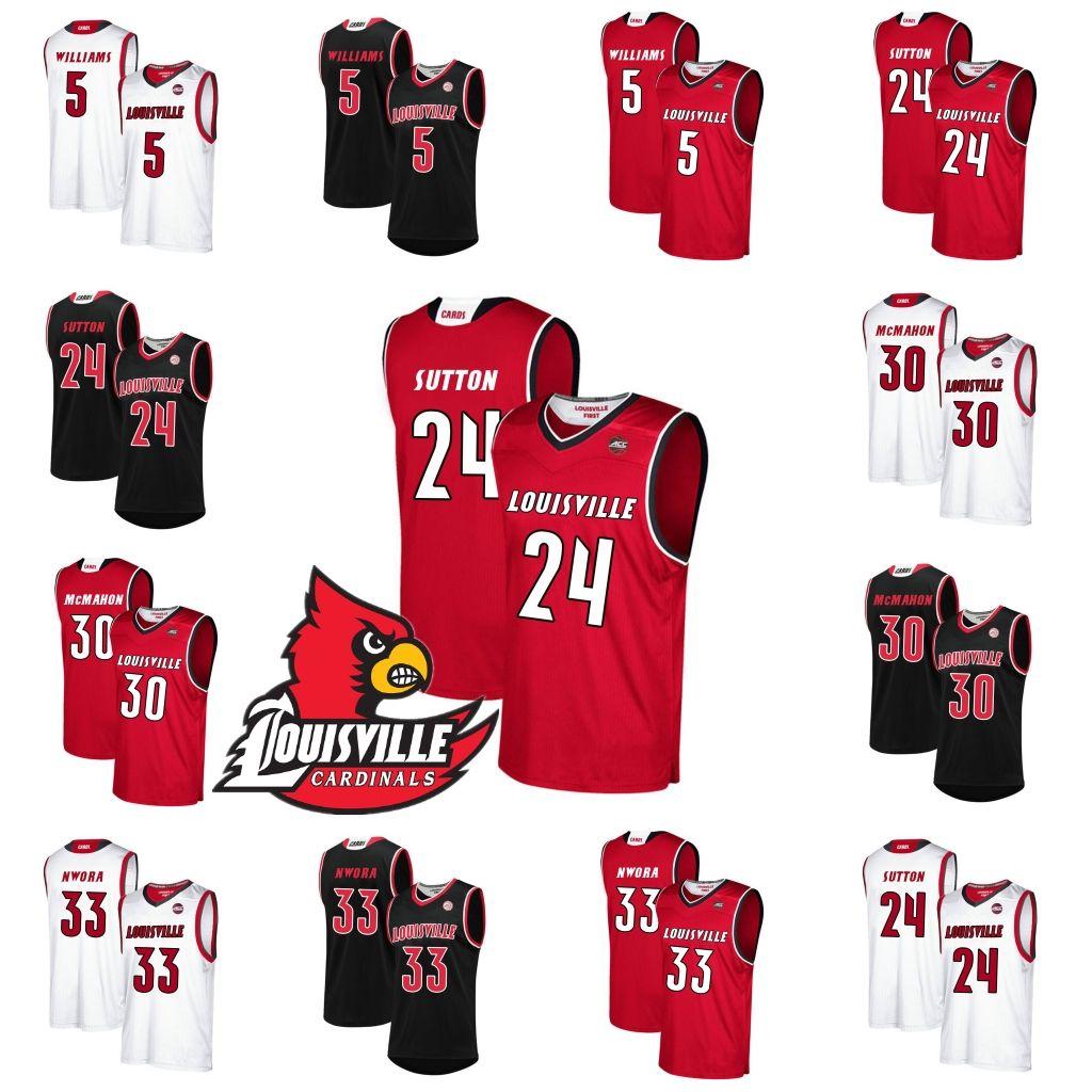 fb1d18267 Louisville Cardinals  5 Malik Williams 24 Dwayne Sutton 30 Ryan McMahon 33  Jordan Nwora NCAA College Basketball Jerseys S-3XL