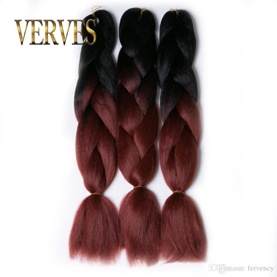 verves black Ombre Braiding Hair 100g/piece Synthetic Two Tone VERVES High Temperature Fiber Jumbo Braid Hair Extensions