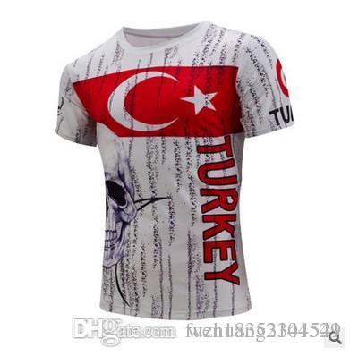 Nuovo commercio estero 2017 primavera e estate nuova maglietta scheletro stampa digitale a maniche corte 3D