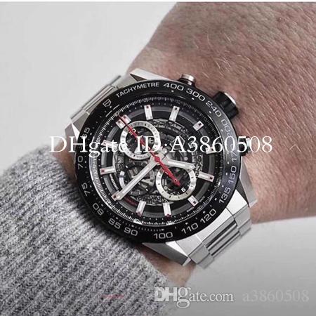 Top Quality dos homens Relógio De Esportes 45 MM de Luxo Em Aço Inoxidável Relógios Mens japonês VK Quartz Chronograph Montre de luxe montres