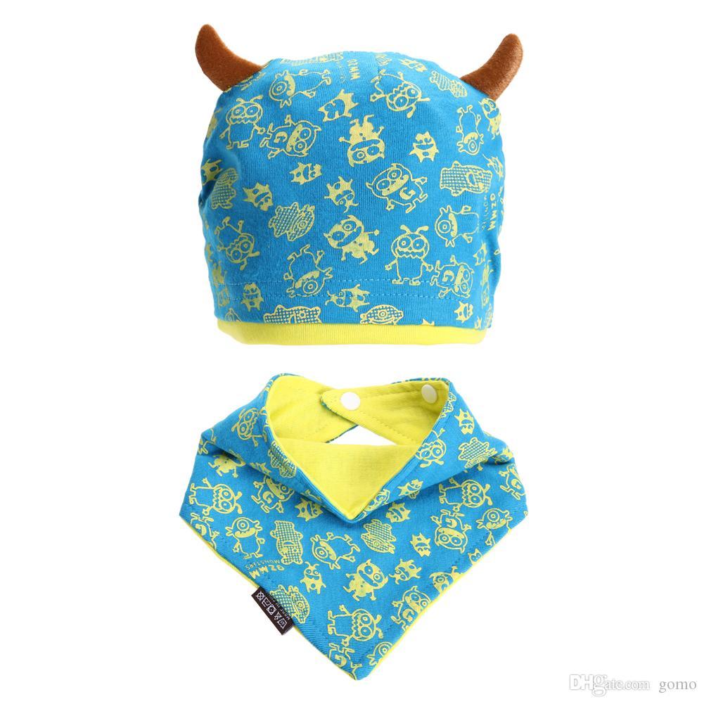 Winter Warm Baby Hat Beanie Cap Set with Bandana Bib Monsters Design Hat Head Scarf Boy Girl Kids Toddler Knit Caps