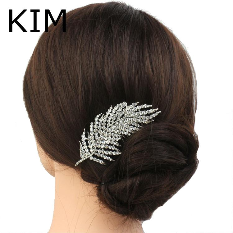 New feather Shape Austria Crystal Wedding Handmade Shiny Bridal Hair Combs Jewelry vintage hair accessories S918