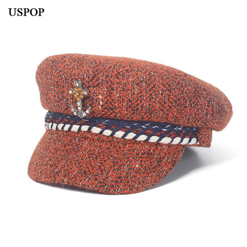 USPOP 2018 Neue Mode Frauen Tweed Zeitungsjungen Kappen Winter warme Hüte Diamant Blume flache Oberseite Visier Kappen Casual weibliche achteckige Kappe
