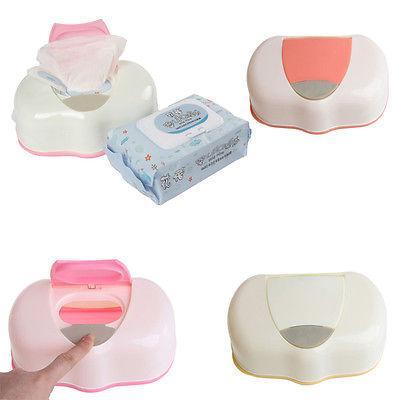 1pc Mendil Kutu Plastik Islak Mendil Otomatik Davası'nda -up Tasarım Doku Örneği Bebek Mendil Depolama Organizer Kutusu