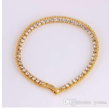 6 см хип-хоп мужчины браслет золотой цвет прохладный панк замороженные стразами цепи Bling Кристалл браслет женщины 20 см обернуть ювелирные изделия руки