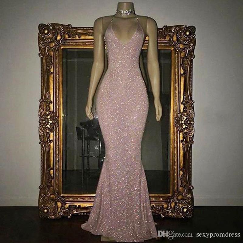 Shining Rose Pink Sequined Prom Dresses 2k19 Sexy Spaghetti Mermaid Abiti da sera Piano economici Cocktail Party Dress per le donne