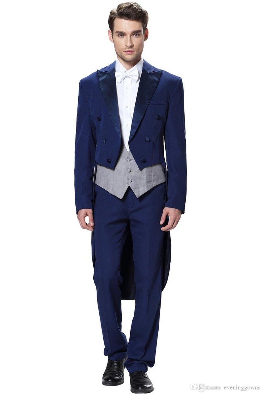 2019 New Arrival Navy Blue Tuxedo Men's Three Piece 2018 New Wedding suit Tailcoat & Tuxedo Pants Suits Mens Suits for Wedding