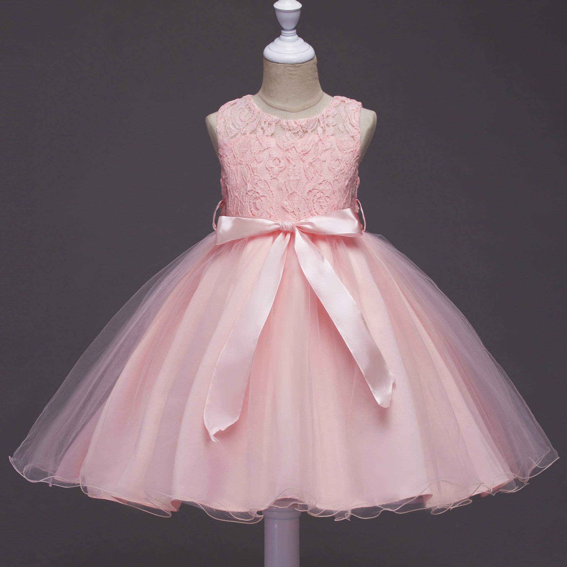 Mode Patchwork Mesh Mädchen Kleider Tank Prinzessin Ball gewachsen O-Ausschnitt ärmellose Blumenmädchen Kleid