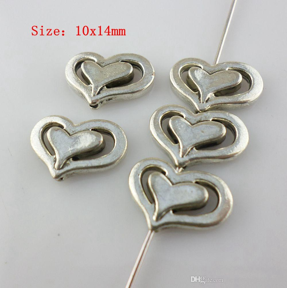150pcs Tibetan Silver 10x14mm Heart Shape Spacer Beads Charm DIY Jewelry Accessories for Crafts Making