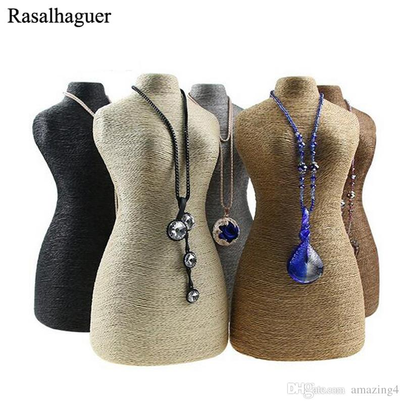 New Arrival Women Bust Design Type Jewelry Necklace Pendants Busts Wrapped With High Quality Cord Material Jewelry Display Rack 2018 New