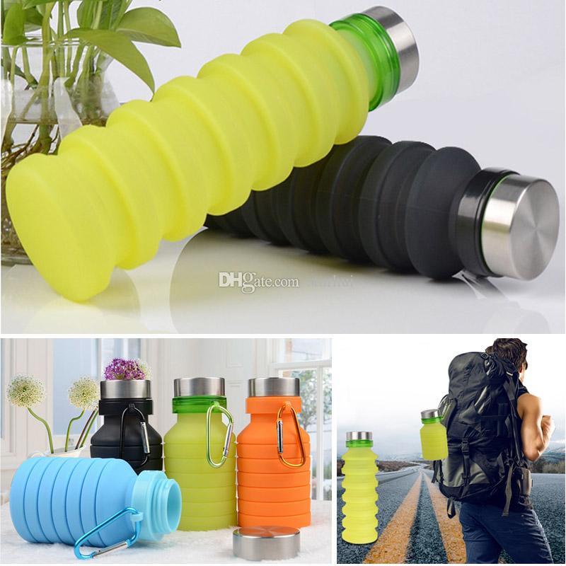 Сложите силиконовые бутылки для воды Спорт 550 мл Открытый Гибкие чашки для напитков Велосипедные бутылки Кружка Путешествия с пряжкой для альпинизма 4 цвета WX9-799