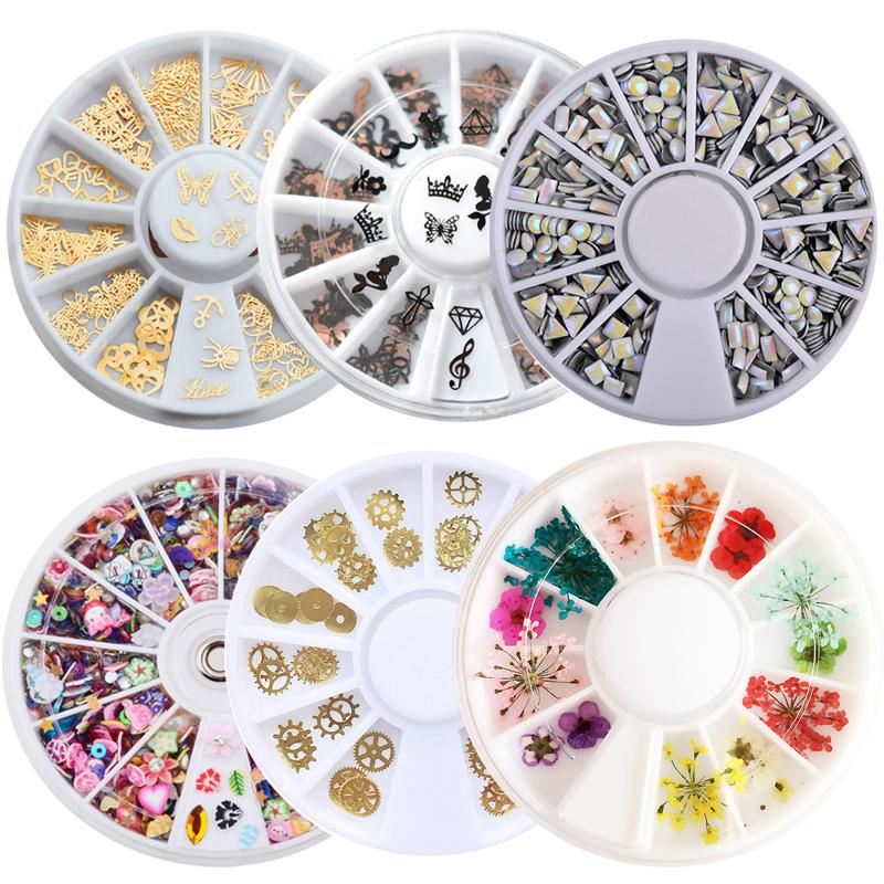 1 Pcs Metal Laser Mixed Nail Sequins Gold Silver Nail Decorations 3d DIY Polymer Clay Tiny Fimo Tips Studs Manicure Wheels