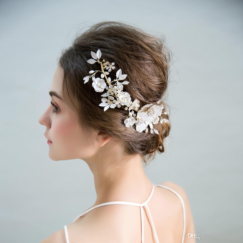 Дизайнер Золото Гребни для невест с кристаллами Wear Серебряный цветок ручной работы Люкс для волос Свадебные аксессуары для волос