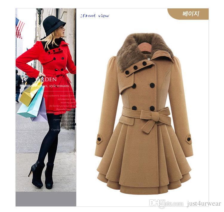 Damen Mode Schlanke A-Line Lange Mäntel Frau Wolle-Mischungen Oberbekleidung zweireihige Mantel-Winter-Warm-Frauen-Kleidung plus Größe M-4XL