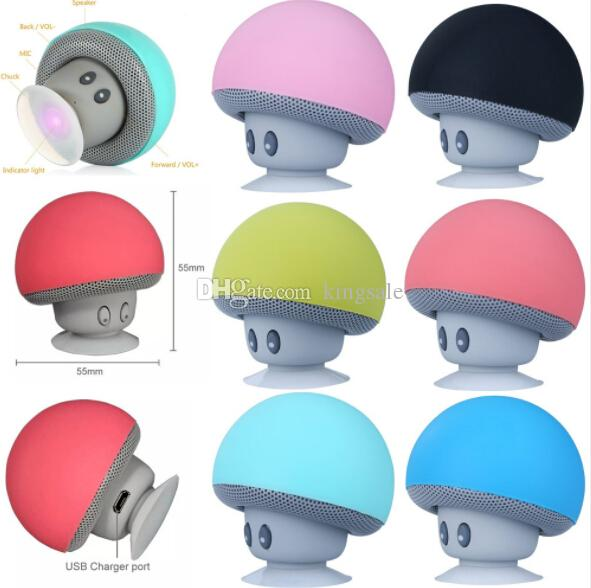 New Arrival Mushroom Bluetooth Speaker Car Speakers with Sucker Mini Portable Wireless Handsfree Subwoofer DHL fast shipping