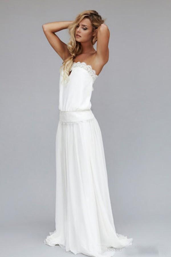 2019 Vintage Beach Wedding Dresses Cheap Dropped Waist Bohemian Boho Bridal Gowns Backless Lace Ribbon Dresses Custom Made