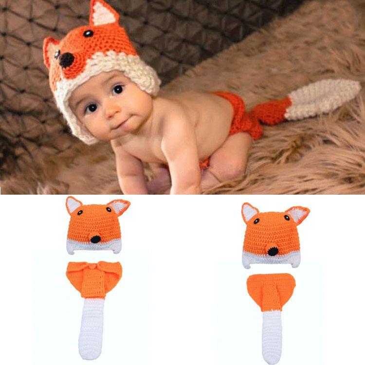 Crochet Fox Hat&Diaper Set Knitted Newborn Baby Photography Props Crochet Baby Animal Costume Newborn BABY Outfits