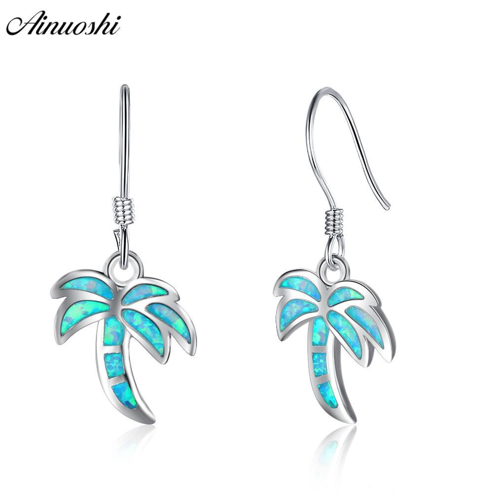 AINUOSHI красочные опал синий кокос дерево крюк серьги чистый стерлингового серебра 925 завод серьги ювелирные изделия подарок для женщин