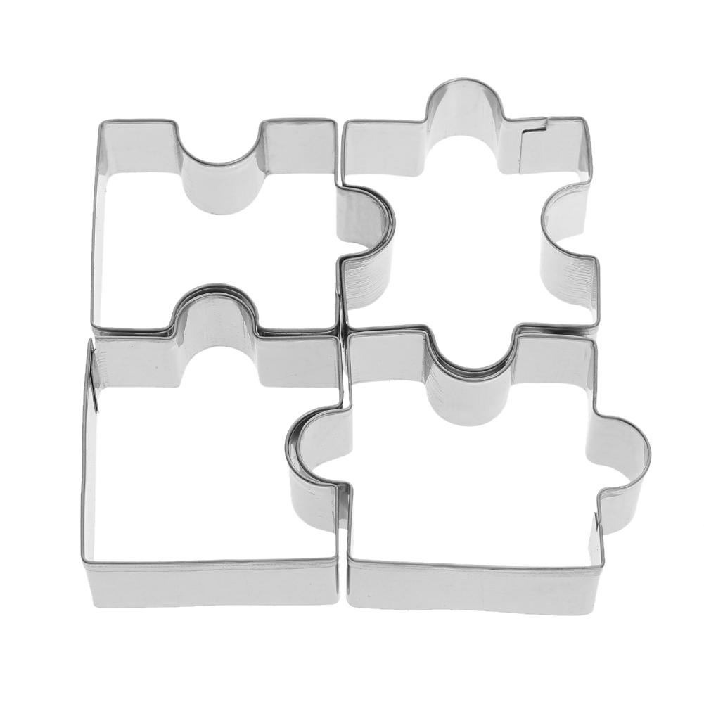 4pcs/set Stainless Steel Puzzle Cookie Cutter DIY Biscuit Dessert Mold Pastry Fondant Cake Sugarcraft Decorating Frame Cutter Tool
