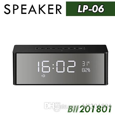 LP-06 New Bluetooth Mini Speaker Wireless Portable Subwoofers With Mirror Time Alarm Clock Handsfree Soundbar Desktop Stereo Dual Speaker