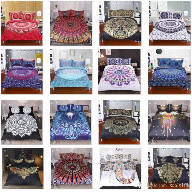 Conjuntos de ropa de cama para la cubierta del caso 3pcs funda nórdica Almohada / Set elefante Mandala Bohemia cubierta del edredón fuentes del regalo de Navidad decorativo HH7-1792