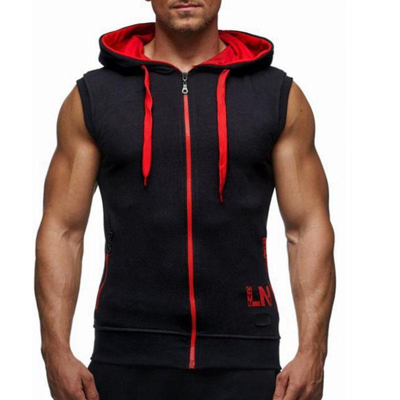 Erkek Vücut Geliştirme Hoodies Spor Giyim Hoody Pamuk Hoodie Erkekler Tişörtü erkek Kolsuz Tankı Üstleri Rahat Yelek
