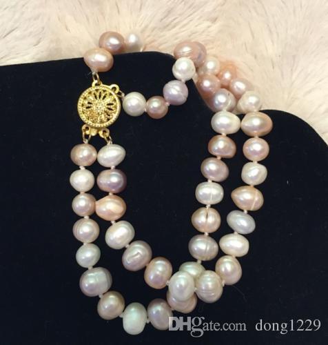 """Braccialetto di perle naturali pastelli d'acqua dolce 8-9mm doppio filo 7.5 """""""
