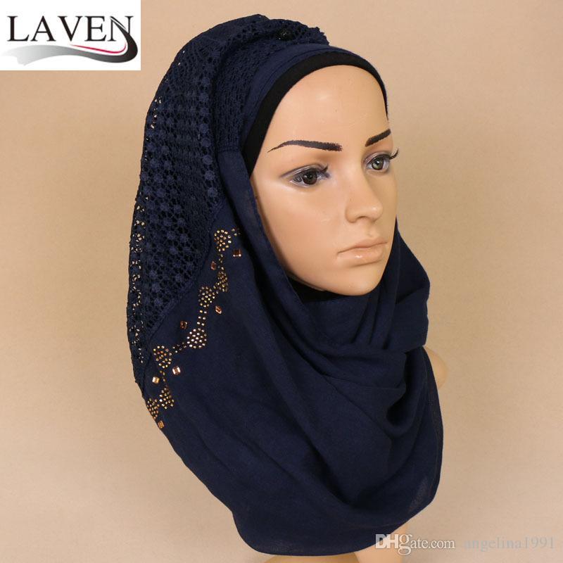 high quanlity cotton plain lace floral gold diamond glitter shawls hijab winter wrap headband 8 color scarves/scarf 200*70cm