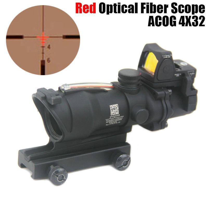 Nuevo Trijicon ACOG 4X32 fibra fuente rojo iluminado Rifle Scope w / RMR Micro Red punto marcada versión negro