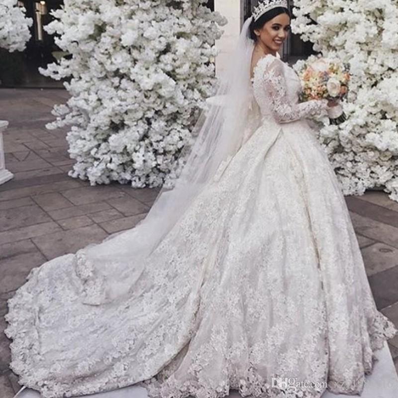 Dubai Dantel Balo Gelin Giydirme V-Yaka Boncuk Dantel Aplike Uzun Kollu Gelinlik Göz Alıcı Sweep Tren Prenses Düğün Suudi