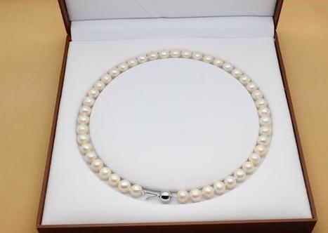 9-10 мм белый натуральный жемчуг ожерелье 18 дюймов 925 серебряная застежка для женщин