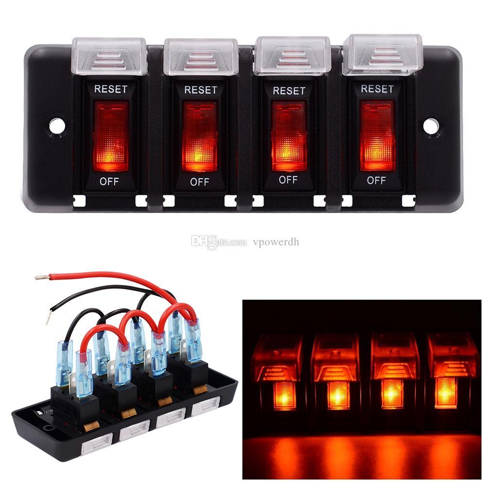 4 Gang LED Rocker Switch Panel Fuses Circuit Breaker for 12V Car Rv Marine Boat B00645